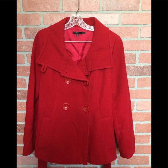 9b25a273 Zara Jackets & Coats | Basic Wool Blend Red Large Coat Jacket Ss67 ...